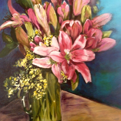 (CreativeWork) Lillies by Leanne Manns. Acrylic Paint. Shop online at Bluethumb.