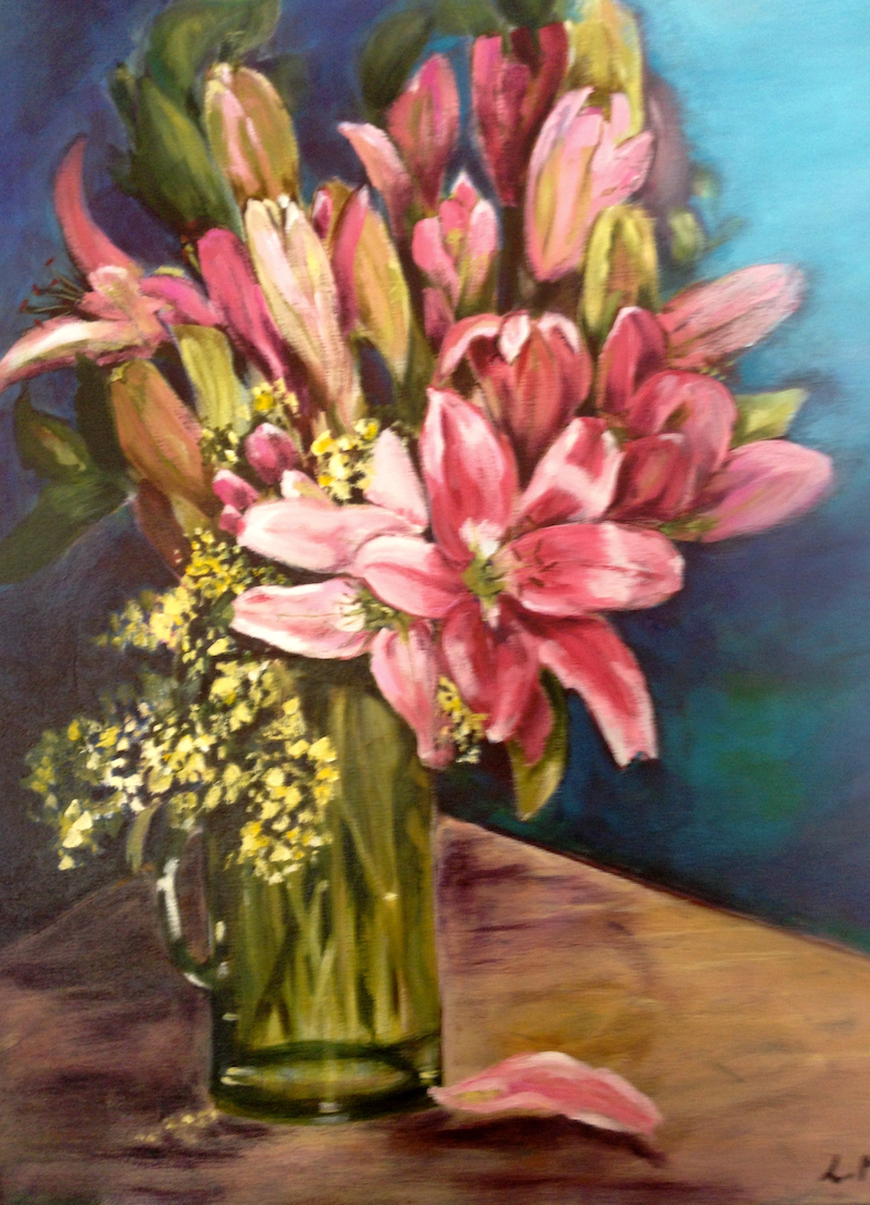 (CreativeWork) lilies by Leanne Manns. arcylic-painting. Shop online at Bluethumb.