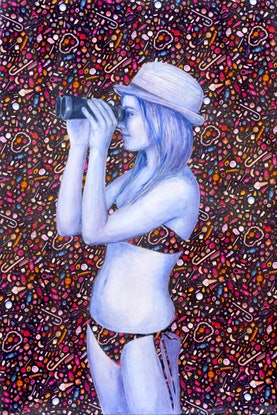 (CreativeWork) Eye candy by Leah Mariani. Oil Paint. Shop online at Bluethumb.