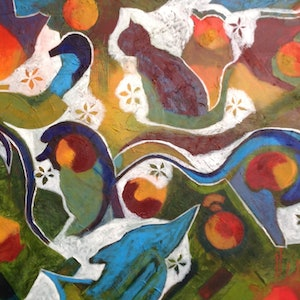 (CreativeWork) Creatures by Kathy Best. arcylic-painting. Shop online at Bluethumb.