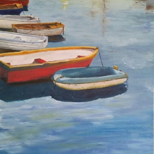 (CreativeWork) The Dinghy  by Damon Lucas. oil-painting. Shop online at Bluethumb.