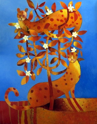 (CreativeWork) Cats in Frangipani  by John Graham. Oil Paint. Shop online at Bluethumb.