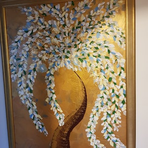 (CreativeWork) Gold tree by Michelle Baumann. arcylic-painting. Shop online at Bluethumb.