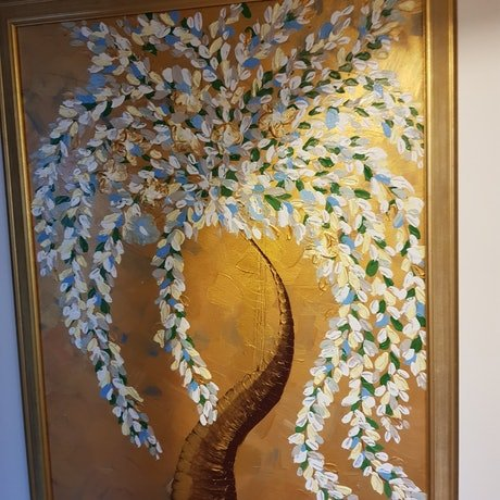 (CreativeWork) Gold tree by Michelle Baxter. Acrylic Paint. Shop online at Bluethumb.