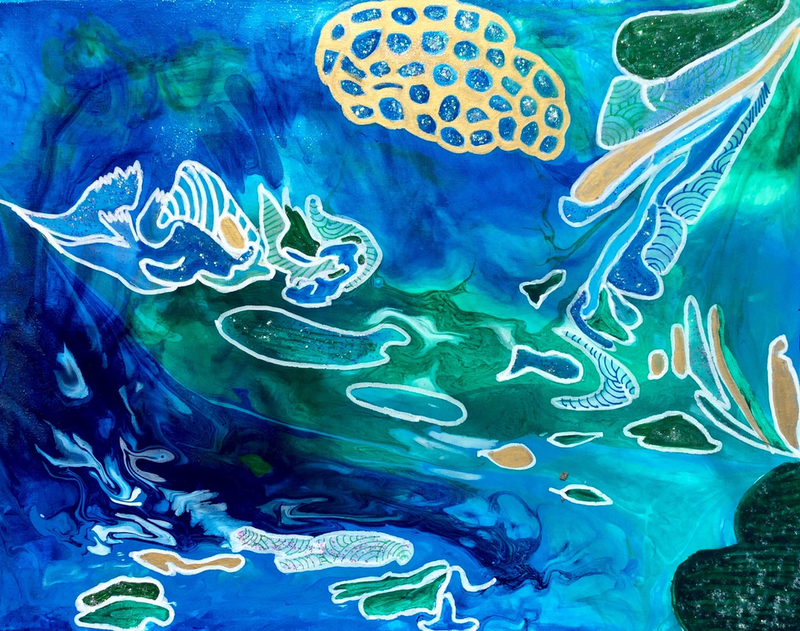(CreativeWork) Brain Coral by Paddy Colahan. arcylic-painting. Shop online at Bluethumb.