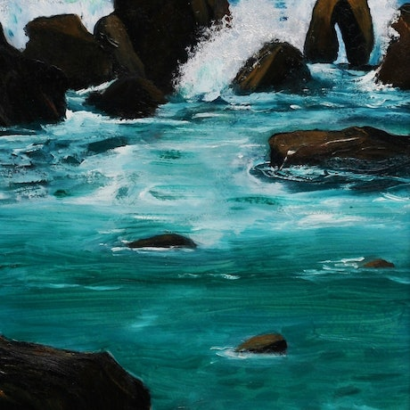 (CreativeWork) Cape Liptrap, Wilsons Promontory by Fay 'O' Gelletly. Oil Paint. Shop online at Bluethumb.
