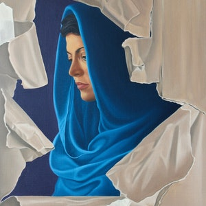 (CreativeWork) Muse Unwrapped by Margaret Ingles. oil-painting. Shop online at Bluethumb.