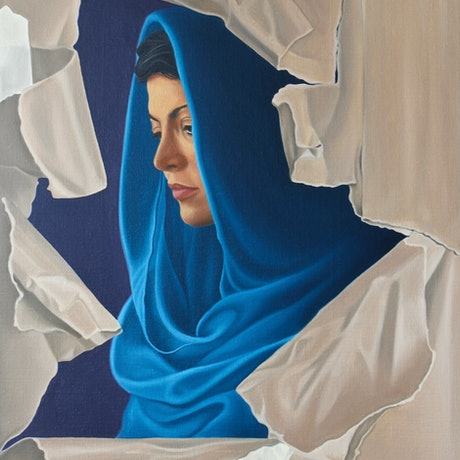 (CreativeWork) Muse Unwrapped by Margaret Ingles. Oil Paint. Shop online at Bluethumb.