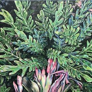 (CreativeWork) Foliage Folly by Lee Murphy. arcylic-painting. Shop online at Bluethumb.