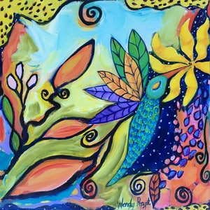 (CreativeWork) Humming Bird by Wendy Bache. arcylic-painting. Shop online at Bluethumb.
