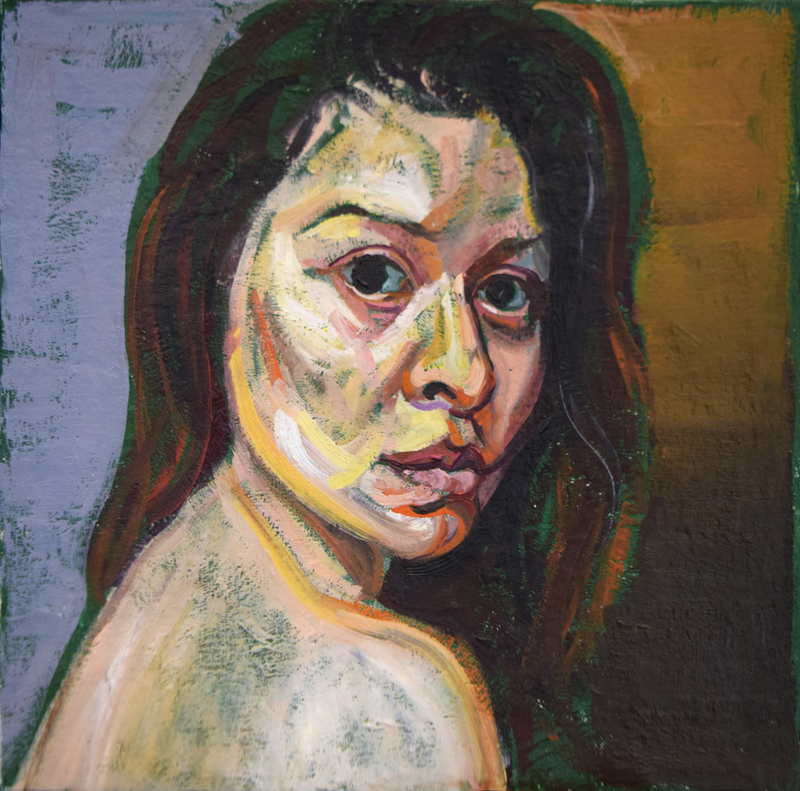 (CreativeWork) Study for a self portrait by Loribelle Spirovski. oil-painting. Shop online at Bluethumb.