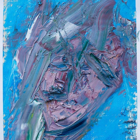 (CreativeWork) Abstract face by Jill Robb. Oil Paint. Shop online at Bluethumb.