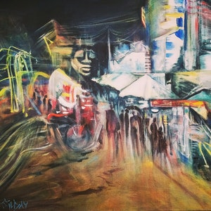 (CreativeWork) Siem Reap Streets by Night by Cathy Gilday. arcylic-painting. Shop online at Bluethumb.