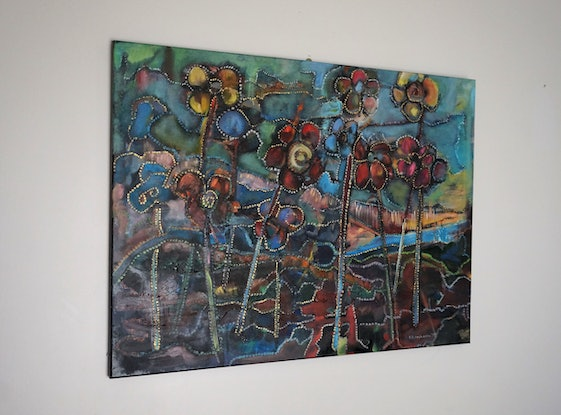 (CreativeWork) Native flowers by Anetta Dobrakowska. Oil Paint. Shop online at Bluethumb.