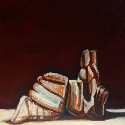 (CreativeWork) Forms on a Beach by Rachel Le Goff. Acrylic Paint. Shop online at Bluethumb.