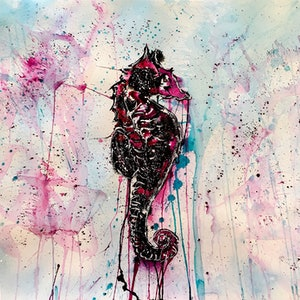 (CreativeWork) Seahorse by Leith Kennedy. mixed-media. Shop online at Bluethumb.