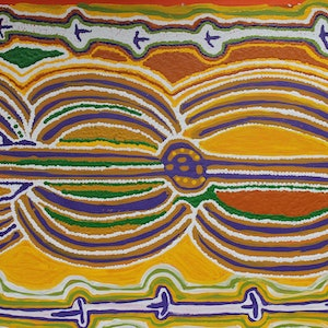 (CreativeWork) Aboriginal Artist - Rosie Napurrurla Tasman - Seed Dreaming  by Catherine Jaktman - Curator. acrylic-painting. Shop online at Bluethumb.