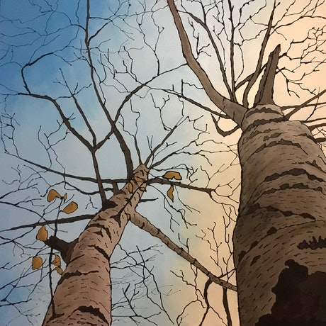 (CreativeWork) Jindabyne Birch by Ingrid Russell. Acrylic Paint. Shop online at Bluethumb.