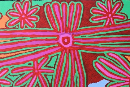 (CreativeWork) Biddy Jurrah Long - Tree and Spinifex Story by Catherine Jaktman - Curator. arcylic-painting. Shop online at Bluethumb.