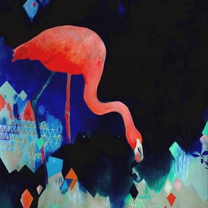 (CreativeWork) Pink Flamingo by Lydie Paton. acrylic-painting. Shop online at Bluethumb.