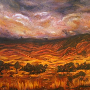 (CreativeWork) MacDonnell Ranges (Big Country) by Lyndsey Hatchwell. oil-painting. Shop online at Bluethumb.