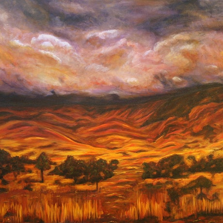 (CreativeWork) MacDonnell Ranges (Big Country) by Lyndsey Hatchwell. Oil Paint. Shop online at Bluethumb.