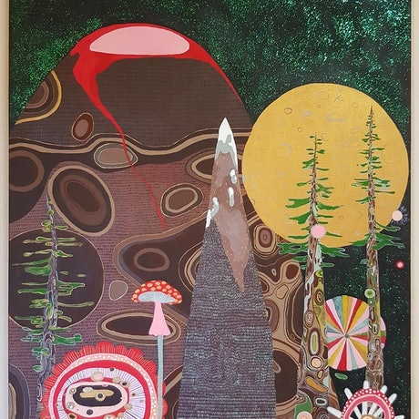 (CreativeWork) Pebble Mountain  by Louise Hamill. Acrylic Paint. Shop online at Bluethumb.