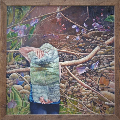 (CreativeWork) Embodying the Land by Maria Peña. Oil. Shop online at Bluethumb.