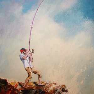 (CreativeWork) The Fisherman by Jennifer Beresford. arcylic-painting. Shop online at Bluethumb.