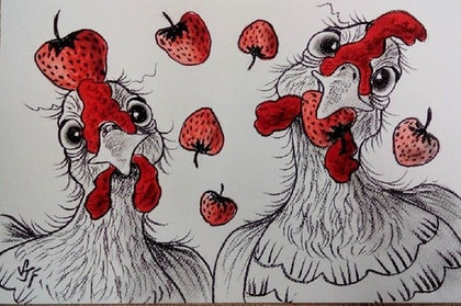 (CreativeWork) Chooks n' Strawberries by Sally Ford. mixed-media. Shop online at Bluethumb.