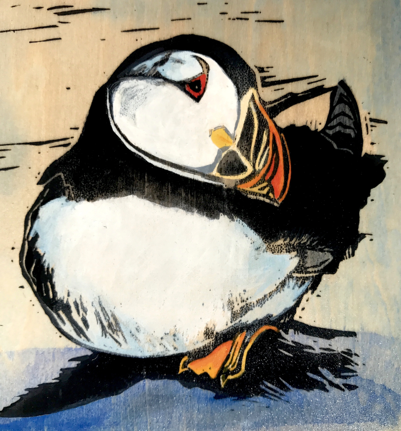 (CreativeWork) Atlantic Puffin (Linocut on Wood) by Lydie Paton. Mixed Media. Shop online at Bluethumb.