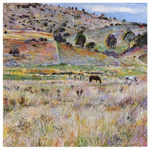 (CreativeWork) Horses in Lithgow by Loribelle Spirovski. oil-painting. Shop online at Bluethumb.
