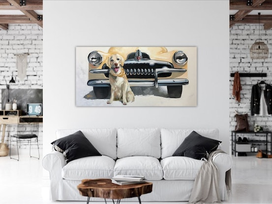 (CreativeWork) FERGUS AND HIS FJ feat. 1954 FJ Holden by Rosa Fedele. Oil Paint. Shop online at Bluethumb.