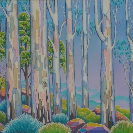 (CreativeWork) POLYCHROME  EUCALYPTI 6 by Saadah Kent. Acrylic Paint. Shop online at Bluethumb.