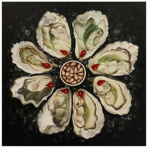 (CreativeWork) Oyster Platter by Natasha Junmanee. oil-painting. Shop online at Bluethumb.