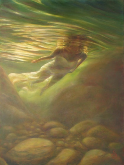 (CreativeWork) Clearstream by Catherine Stringer. oil-painting. Shop online at Bluethumb.