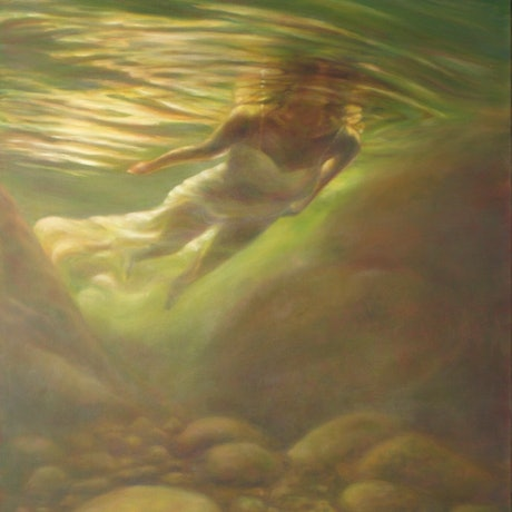 (CreativeWork) Clearstream by Catherine Stringer. Oil Paint. Shop online at Bluethumb.