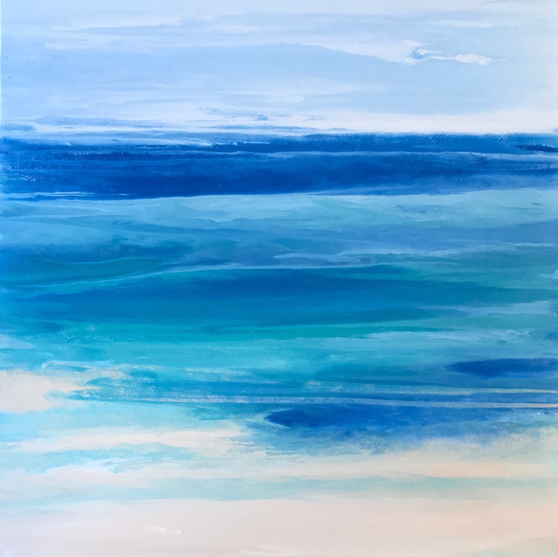 "(CreativeWork) ORIGINAL ABSTRACT ART PAINTING ON STRETCHED CANVAS  ""TOTAL TRANQUILITY""  TURQUOISE WHITE TEAL BLUE SANDY BEIGE  by Debra Ryan. mixed-media. Shop online at Bluethumb."