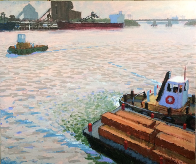 (CreativeWork) Timber Lighters,Rozelle Bay No 3 by Ian Chapman. Acrylic Paint. Shop online at Bluethumb.