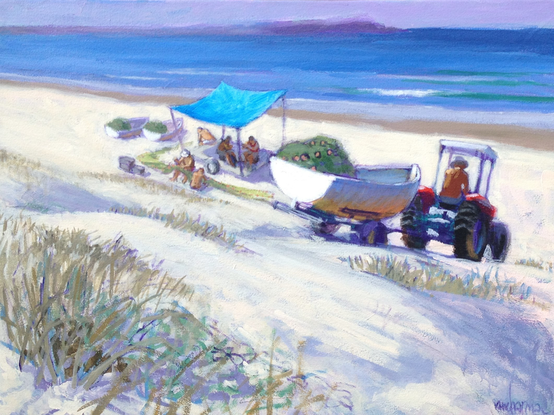 (CreativeWork) Waiting for the Mullet run. by Ian Chapman. Oil Paint. Shop online at Bluethumb.