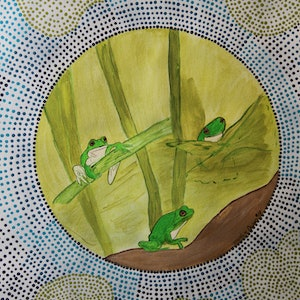 (CreativeWork) Frogs on a lily leaf  by wendy Owen. arcylic-painting. Shop online at Bluethumb.
