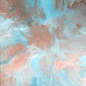"""(CreativeWork) ORIGINAL ABSTRACT ART PAINTING ON STRETCHED CANVAS  """"HEAVEN SENT"""" BLUE METALLIC COPPER WHITE by Debra Ryan. mixed-media. Shop online at Bluethumb."""