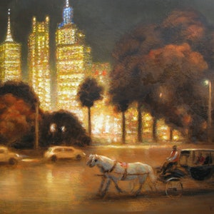 (CreativeWork) An autumn evening in Melbourne by Valentin Varetsa. oil-painting. Shop online at Bluethumb.