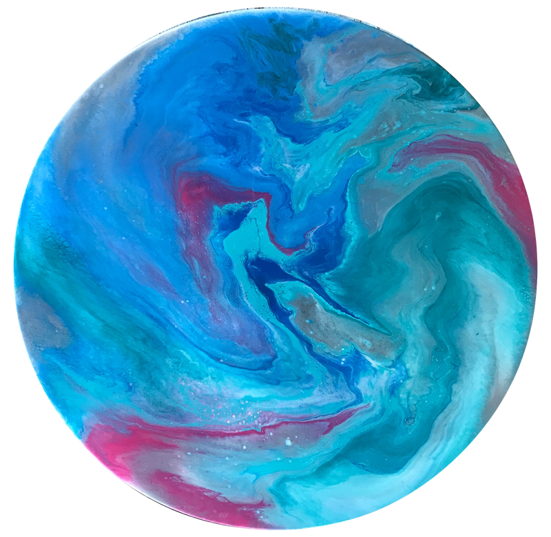 "(CreativeWork) ORIGINAL ROUND ABSTRACT RESIN PAINTING ON TIMBER ART BOARD  ""FANTASY"" TEAL, TURQUOISE, BLUE, FUCHSIA, SILVER by Debra Ryan. resin. Shop online at Bluethumb."