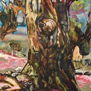 (CreativeWork) Giant gum , with stories to tell. by Trevor Purvis. oil-painting. Shop online at Bluethumb.