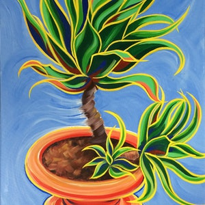 "(CreativeWork) ""Robert The Plant"" by David Clare. arcylic-painting. Shop online at Bluethumb."