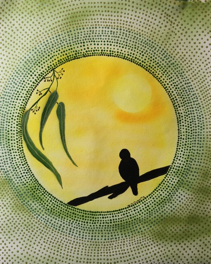 (CreativeWork) Silhouette at sunset  by wendy Owen. arcylic-painting. Shop online at Bluethumb.