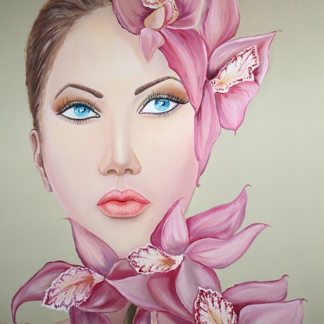 (CreativeWork) ''Pink flowers'' in oil by Ema mullalli. Oil Paint. Shop online at Bluethumb.
