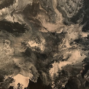 """(CreativeWork) ORIGINAL ABSTRACT ART PAINTING ON STRETCHED CANVAS  """"CLASSY IN BLACK""""  BLACK WHITE SILVER by Debra Ryan. mixed-media. Shop online at Bluethumb."""