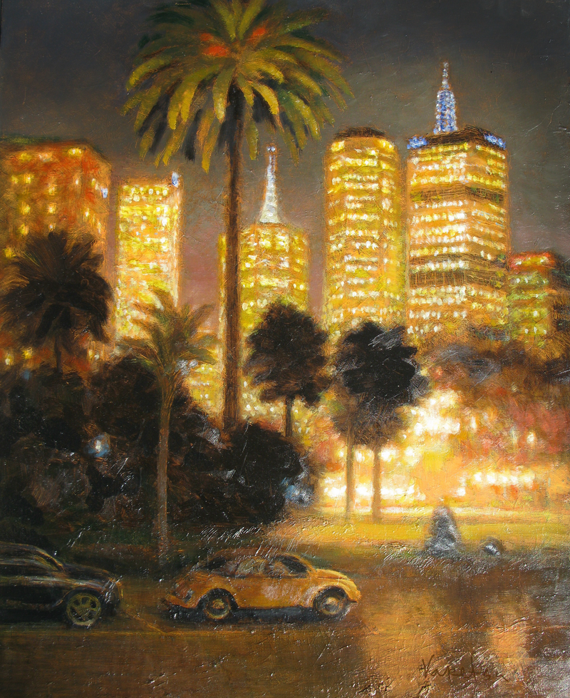 (CreativeWork) Light in Melbourne by Valentin Varetsa. oil-painting. Shop online at Bluethumb.
